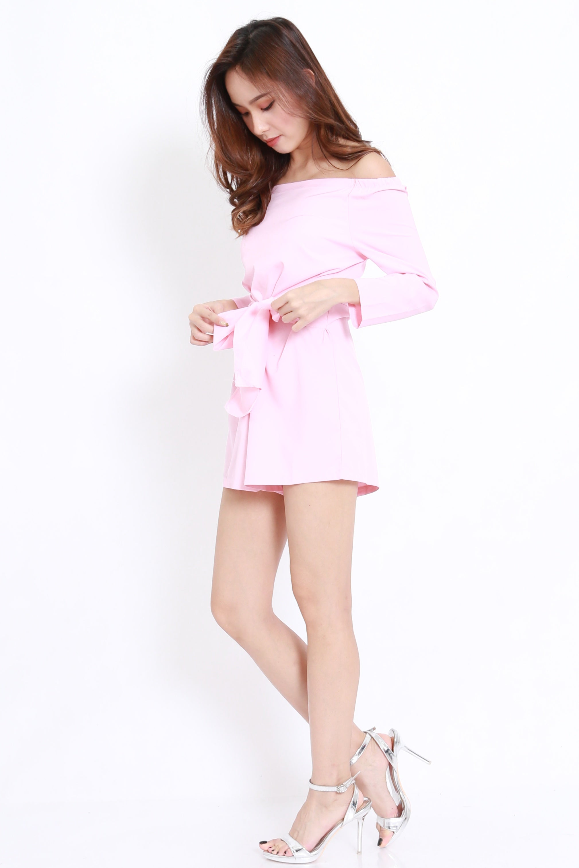 Tie Front Off Shoulder Romper (Pink)