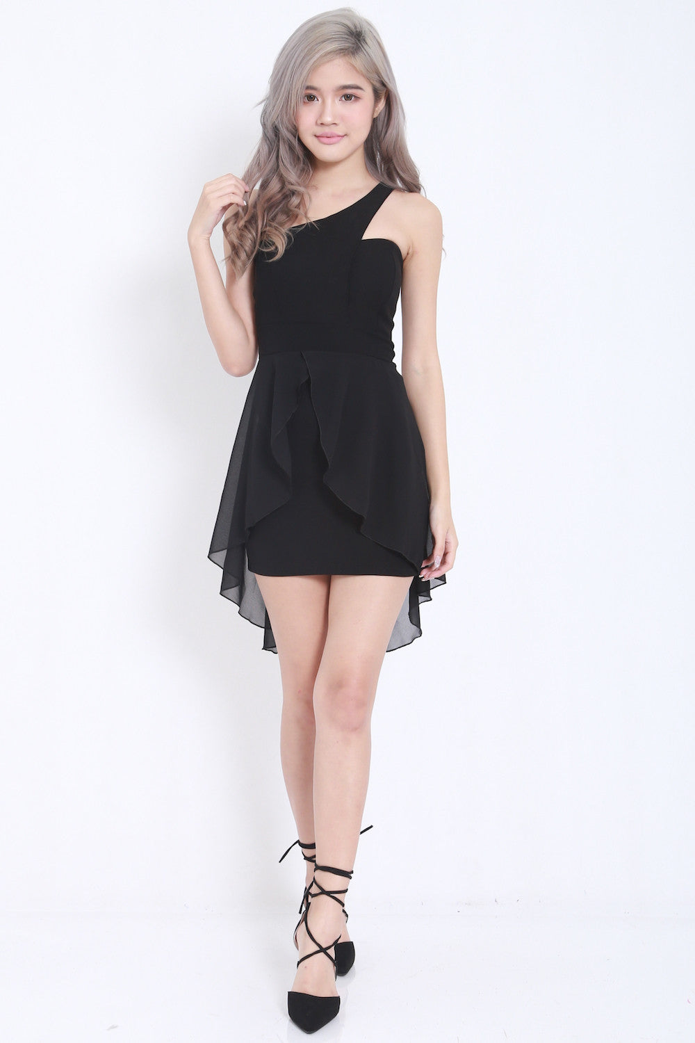 Toga Drape Dress (Black) -  - 1