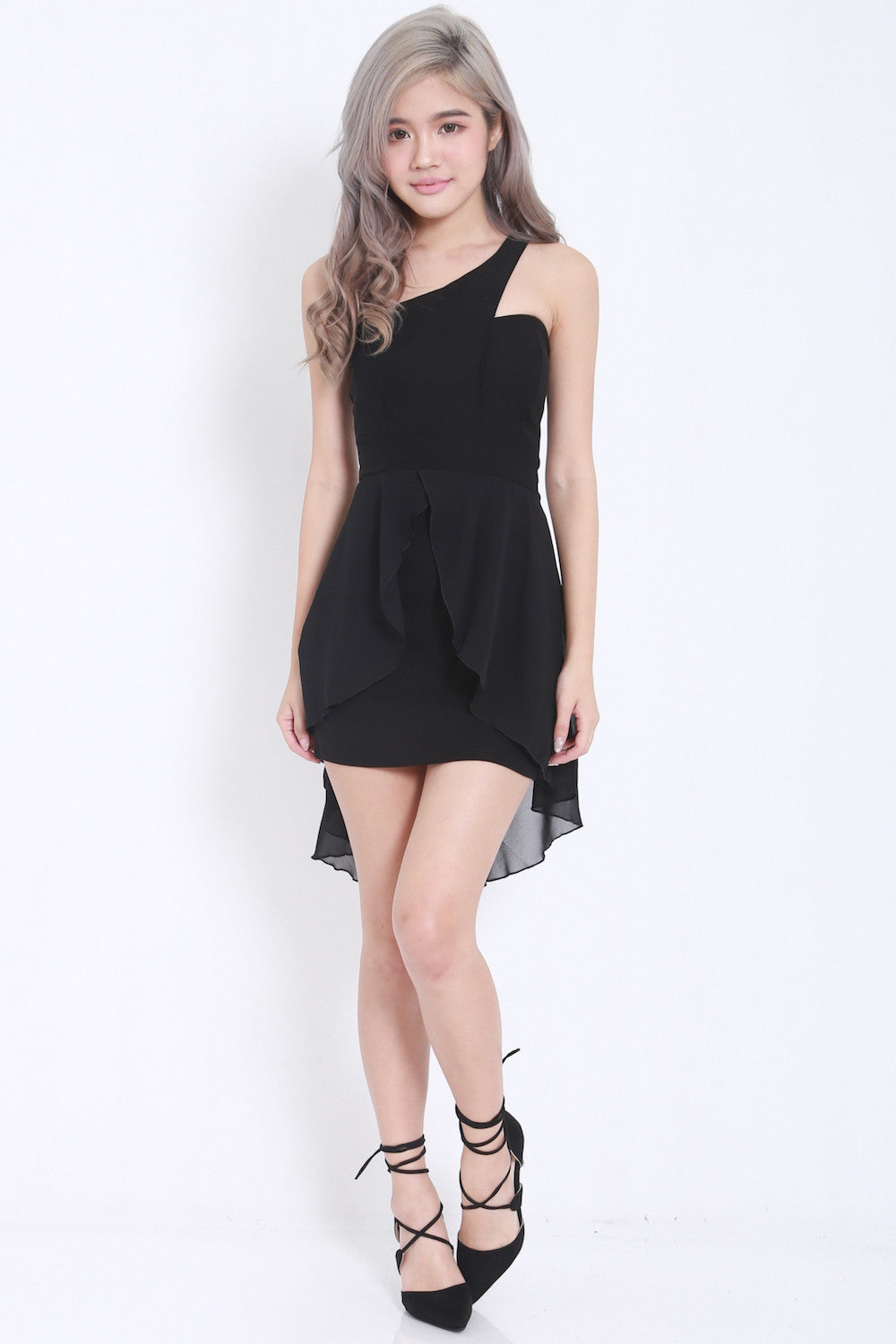 Toga Drape Dress (Black) -  - 2