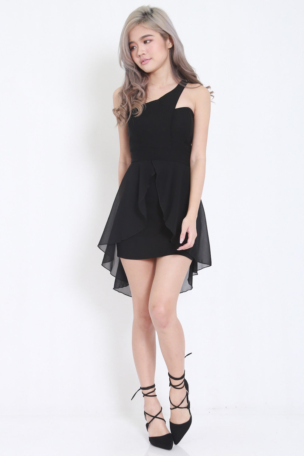 Toga Drape Dress (Black) -  - 3