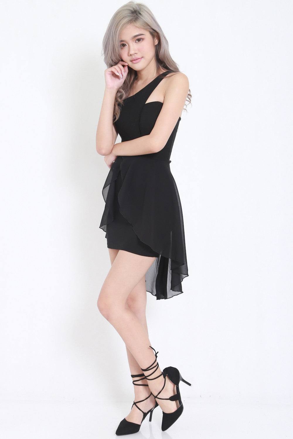 Toga Drape Dress (Black) -  - 4