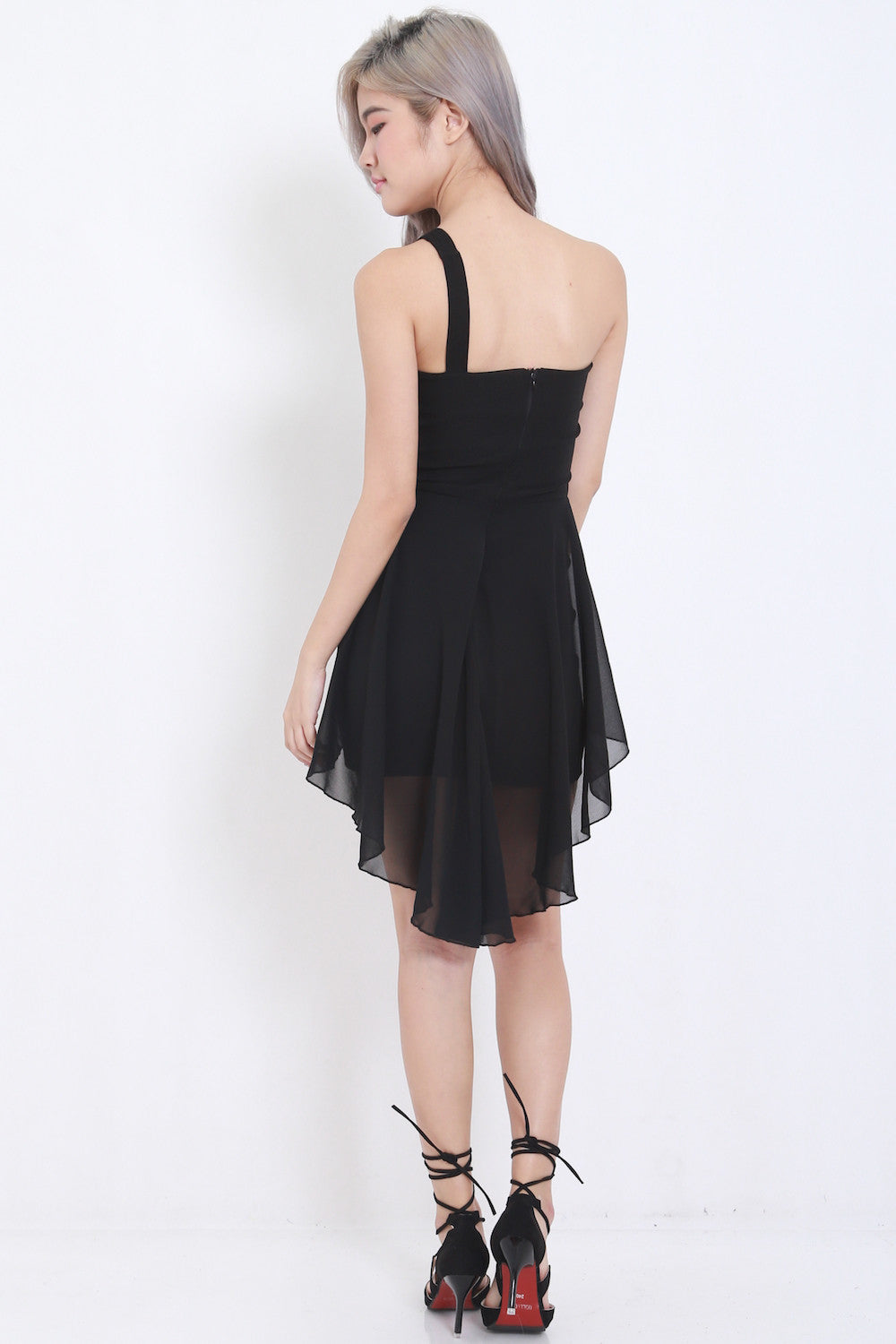 Toga Drape Dress (Black) -  - 5