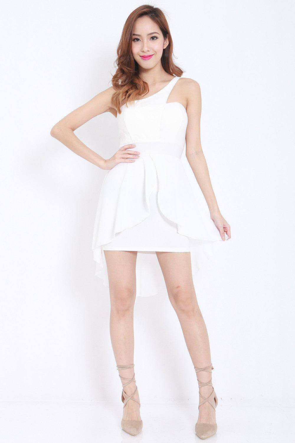 Toga Drape Dress (White) -  - 1