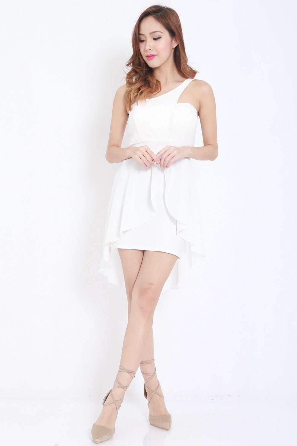 Toga Drape Dress (White) -  - 2