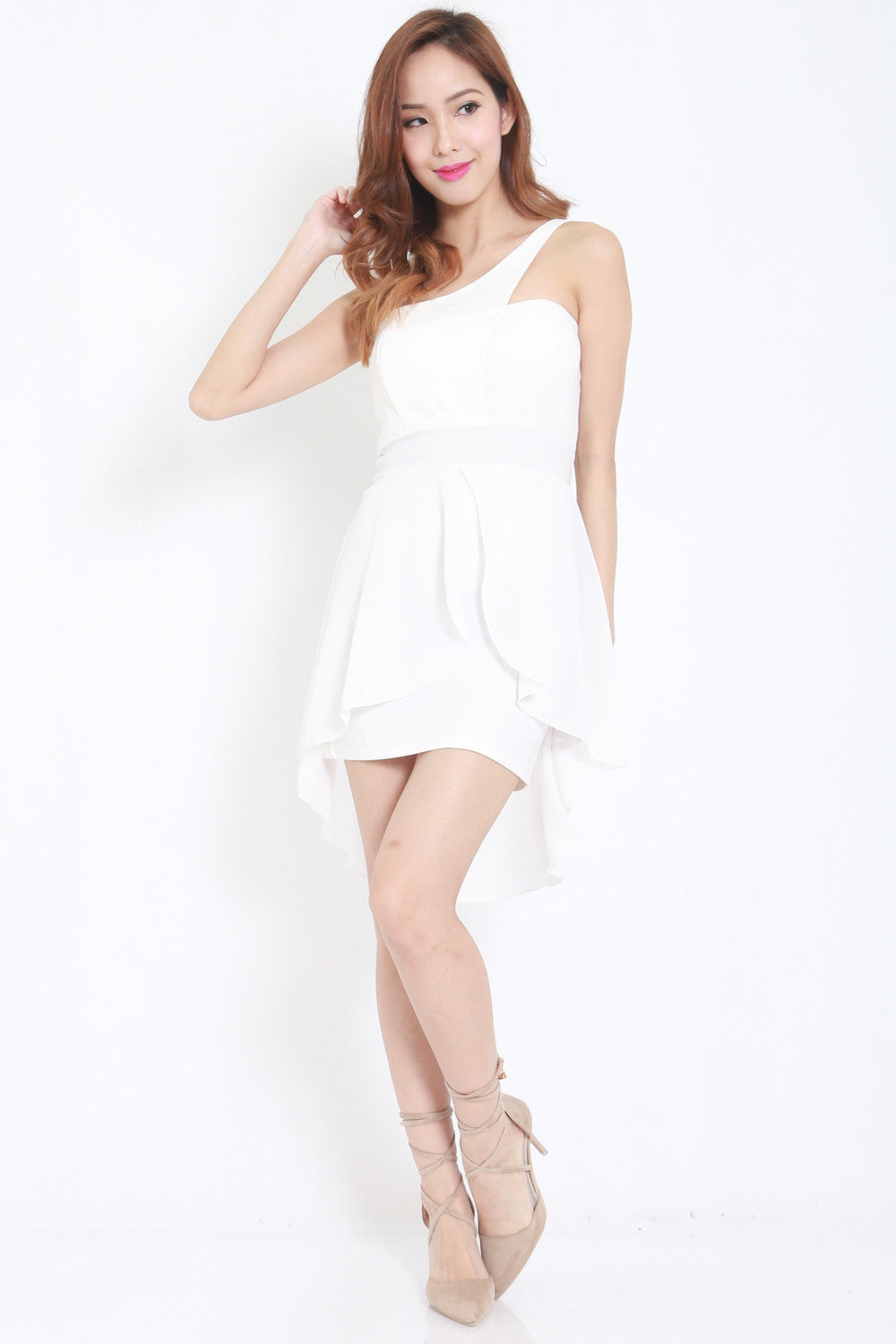 Toga Drape Dress (White) -  - 3
