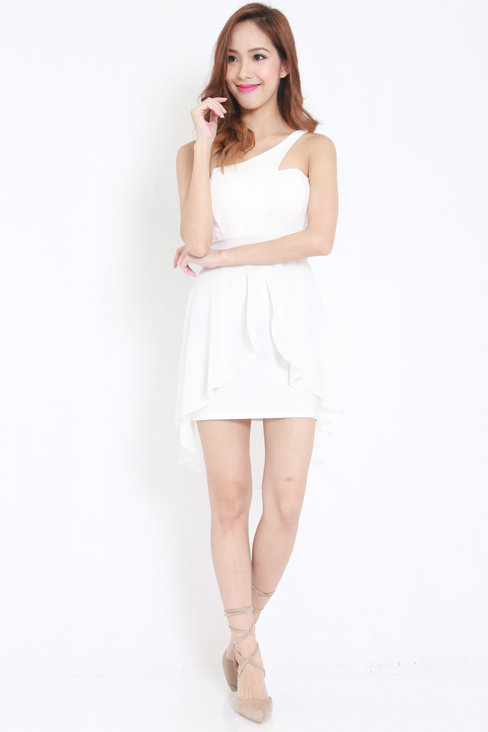 Toga Drape Dress (White) -  - 4