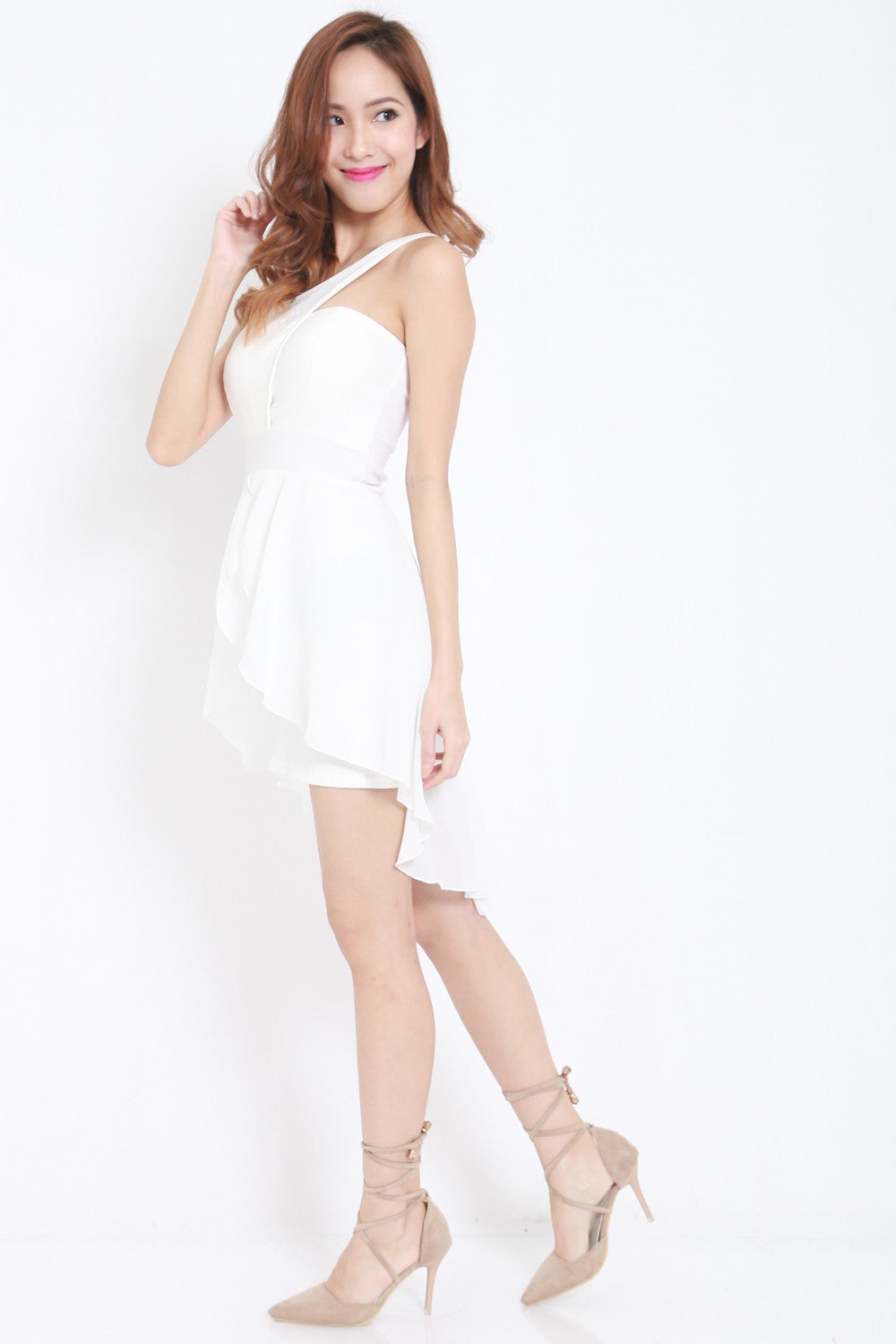 Toga Drape Dress (White) -  - 5