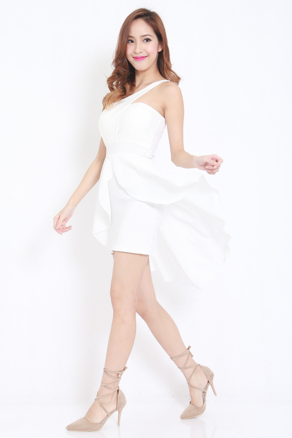 Toga Drape Dress (White) -  - 6