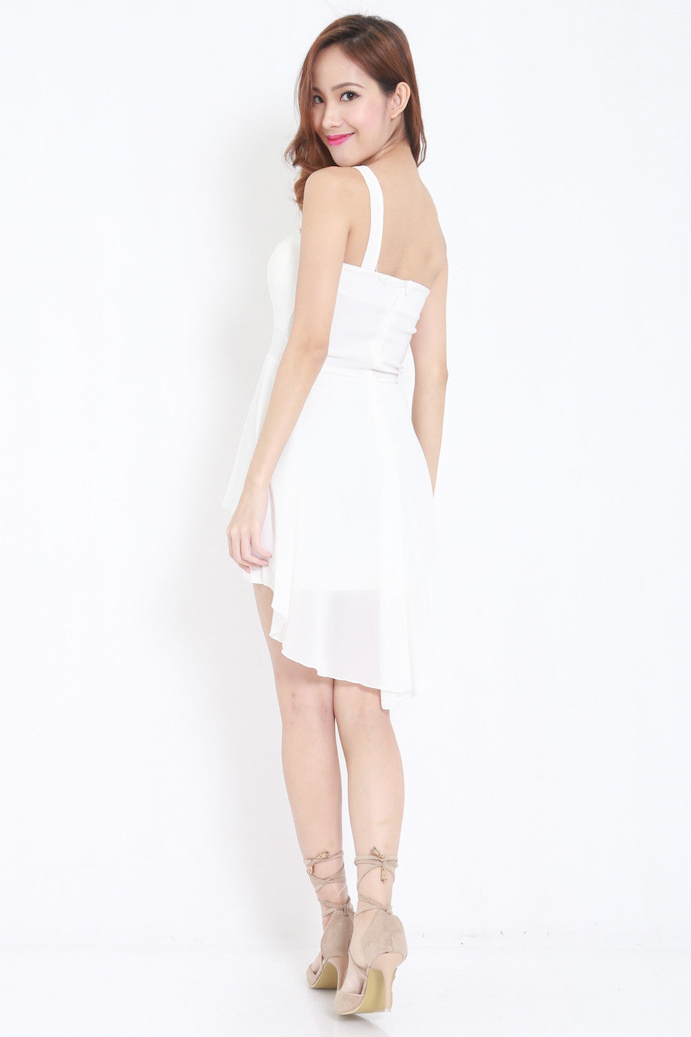 Toga Drape Dress (White) -  - 7
