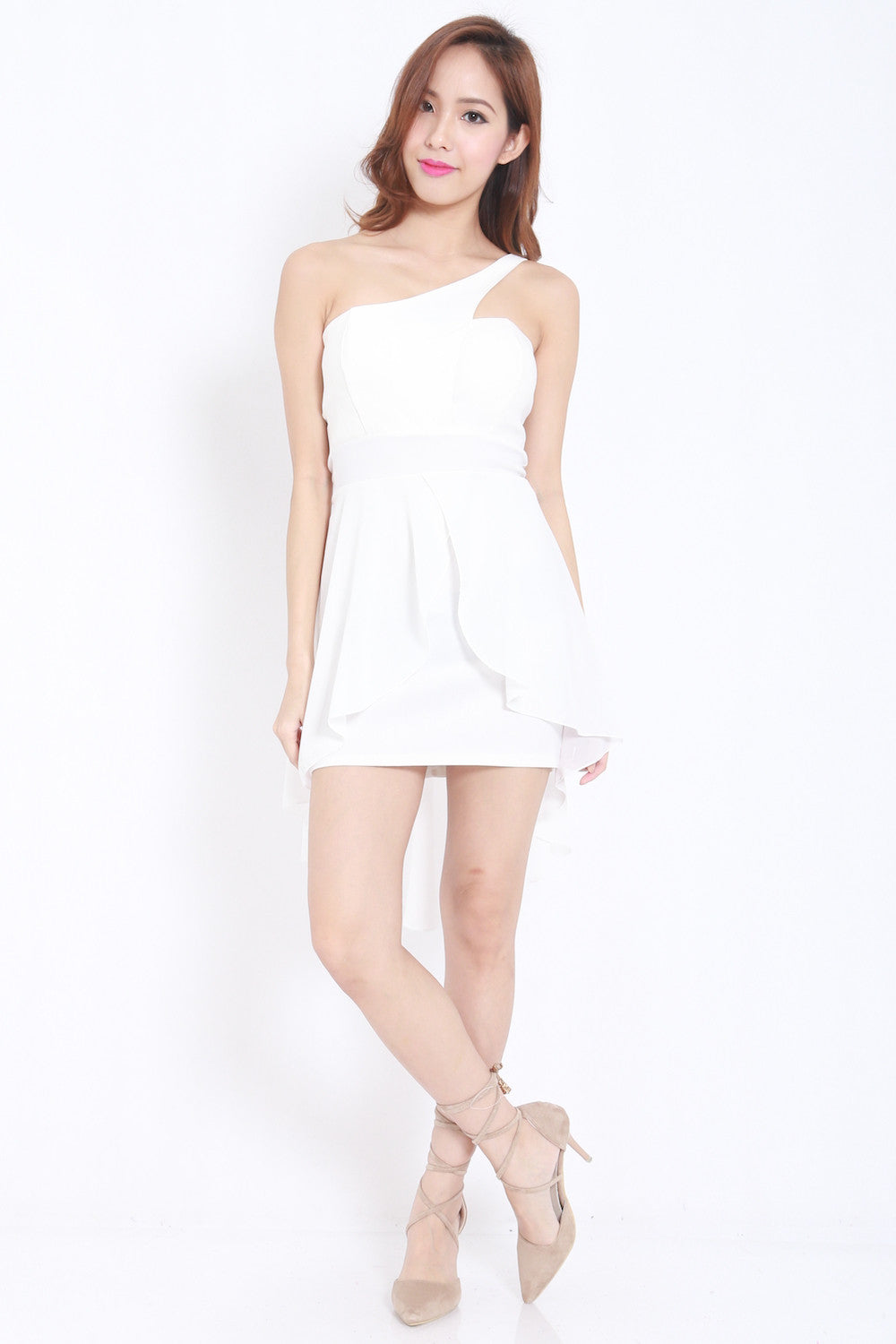 Toga Drape Dress (White) -  - 8