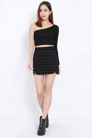 Checkered Scallop Skirt