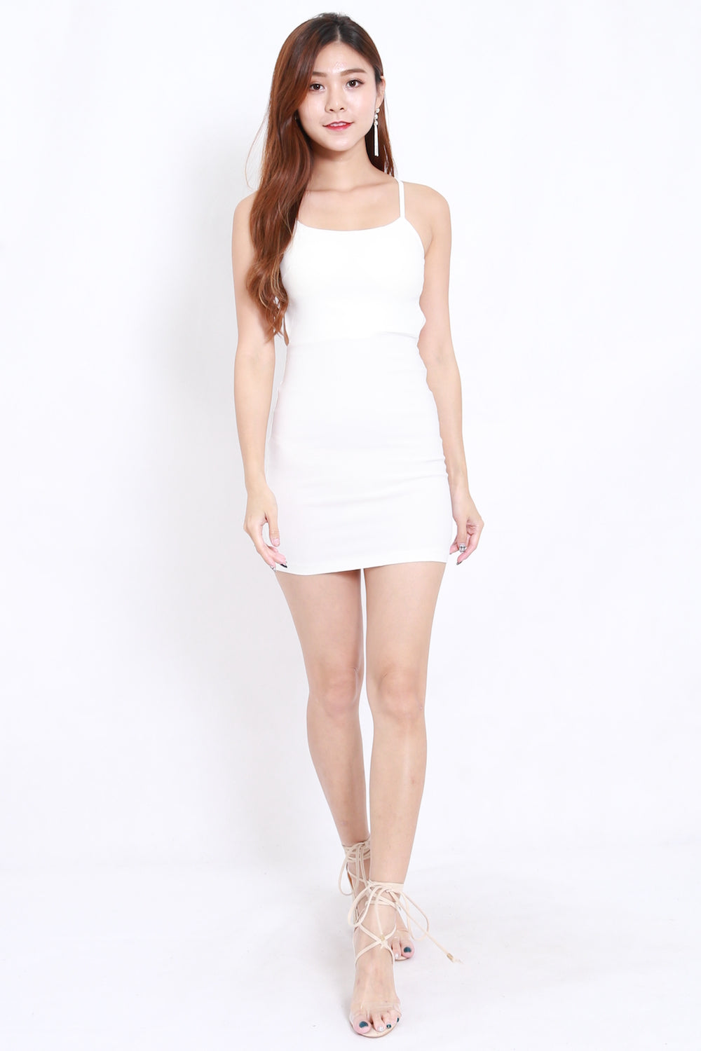 Triple Cross Back Dress (White)