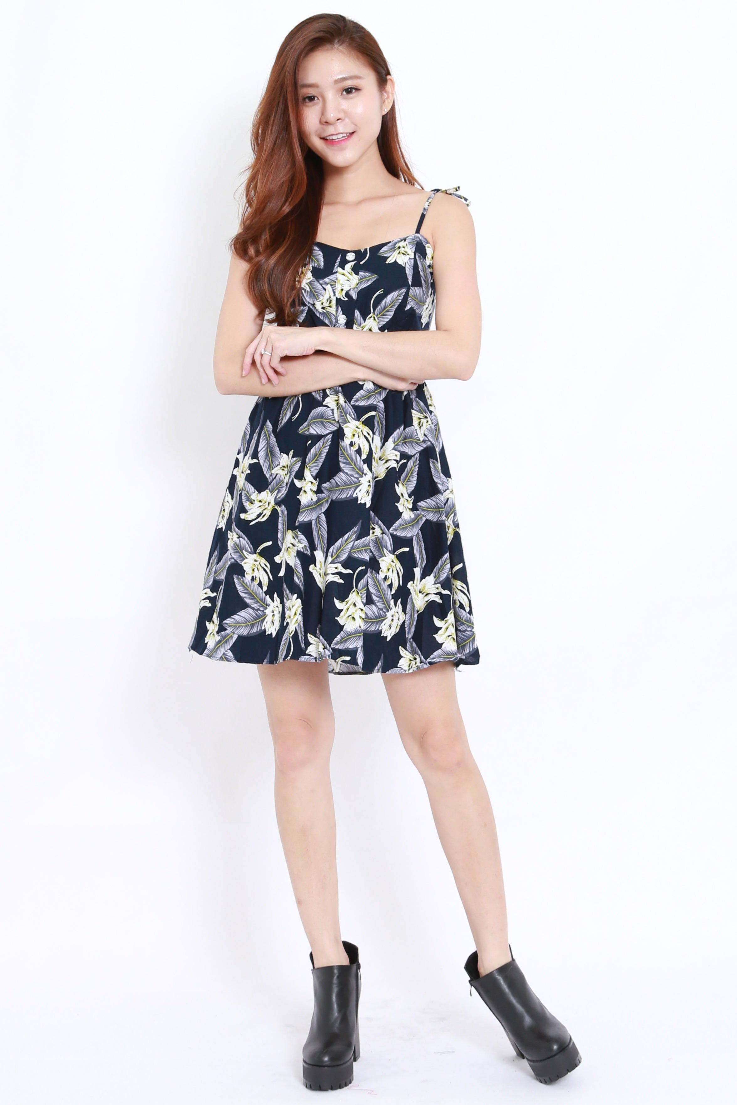 Tropical Leaves Dress (Navy)