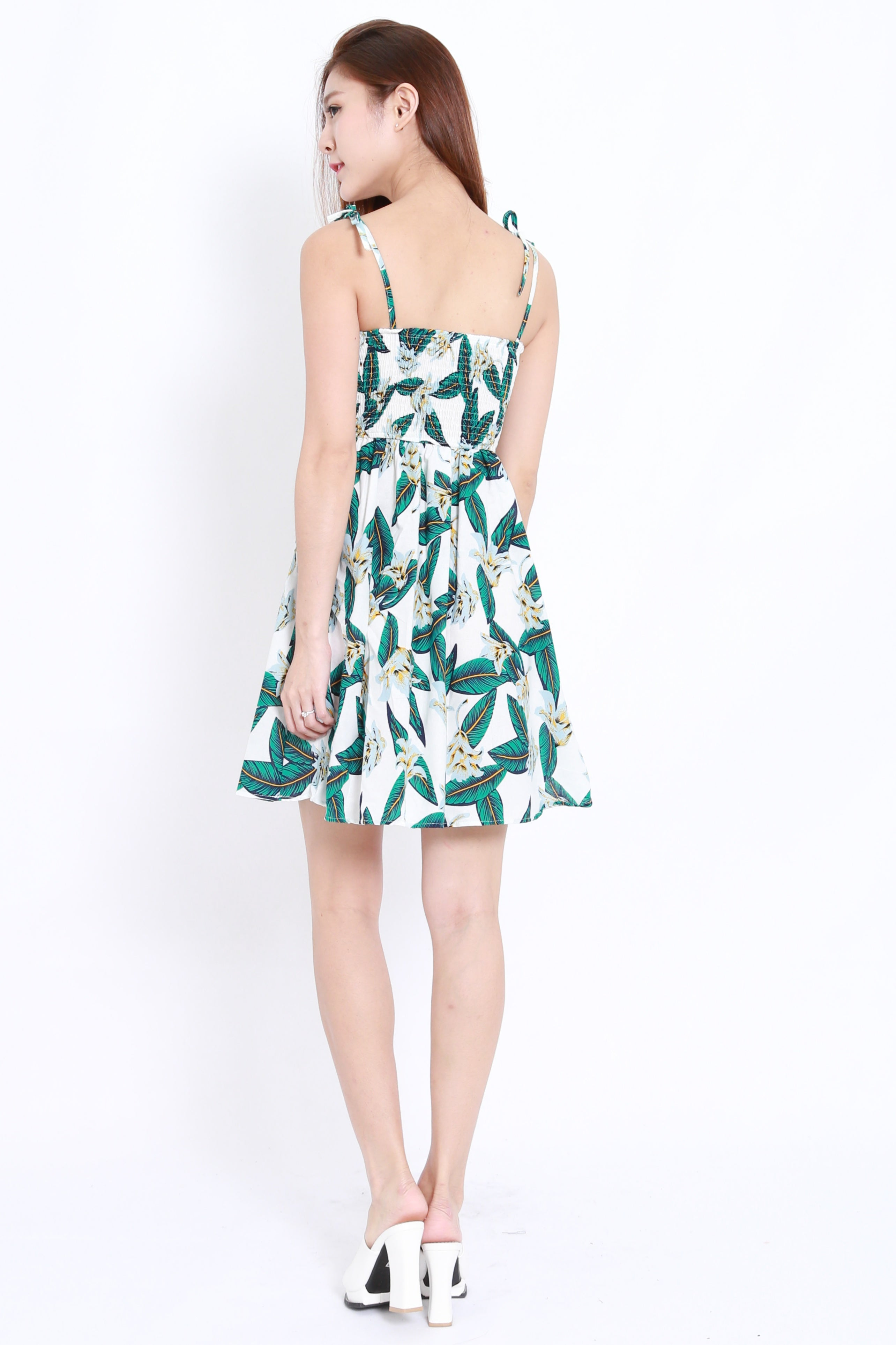 Tropical Leaves Dress (White)