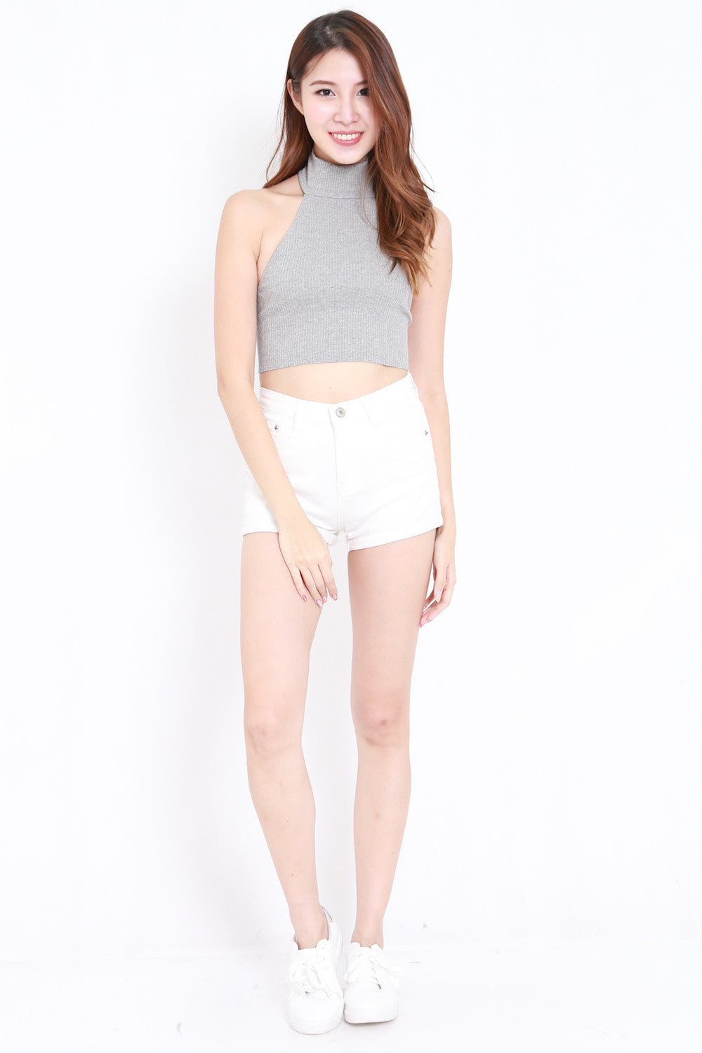 Turtle Neck Crop Top (Grey)