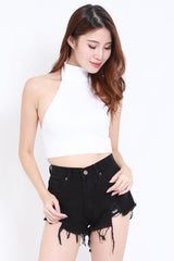 Turtle Neck Crop Top (White)