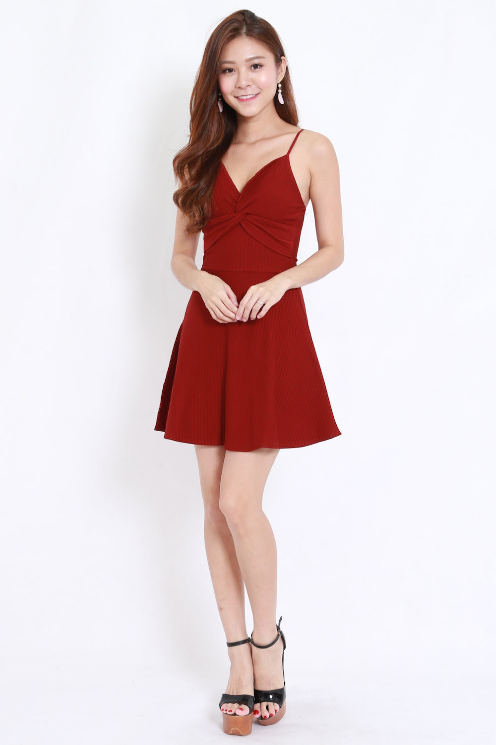 Twist Front Ribbed Skater Dress (Maroon)
