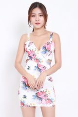 Underwrap Floral Dress (White)