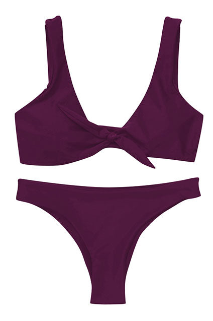Tie Front Ribbon Bikini (Purple)