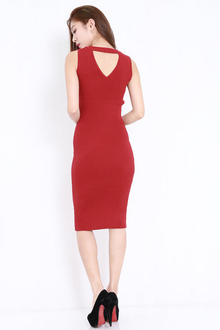 V Back Ribbed Midi Dress (Maroon)