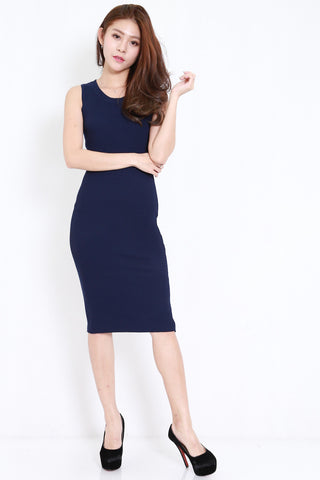 V Back Ribbed Midi Dress (Navy)