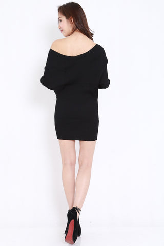 V Neck Knit Dress (Black)