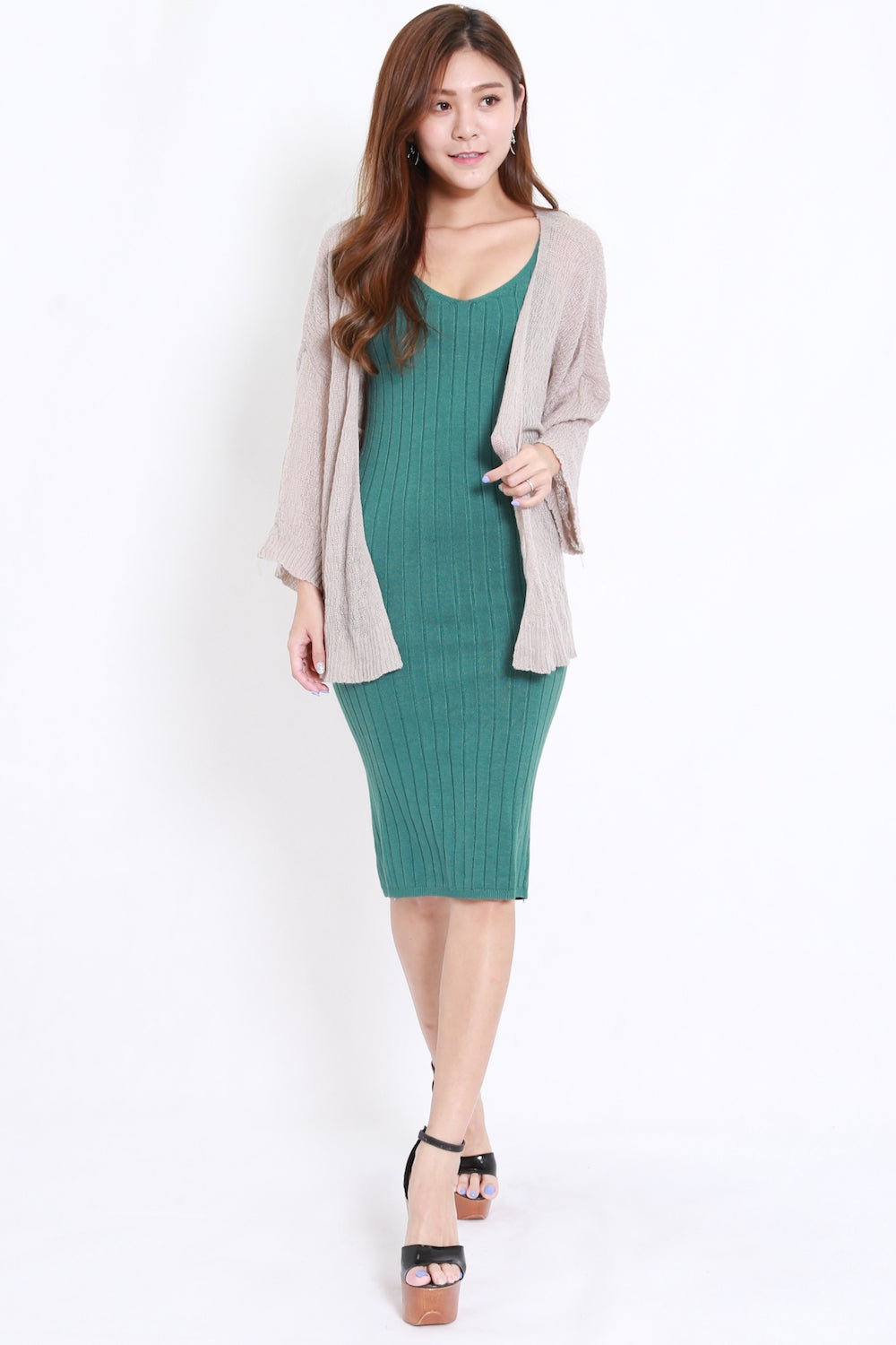 V Neck Midi Kit Dress (Green)
