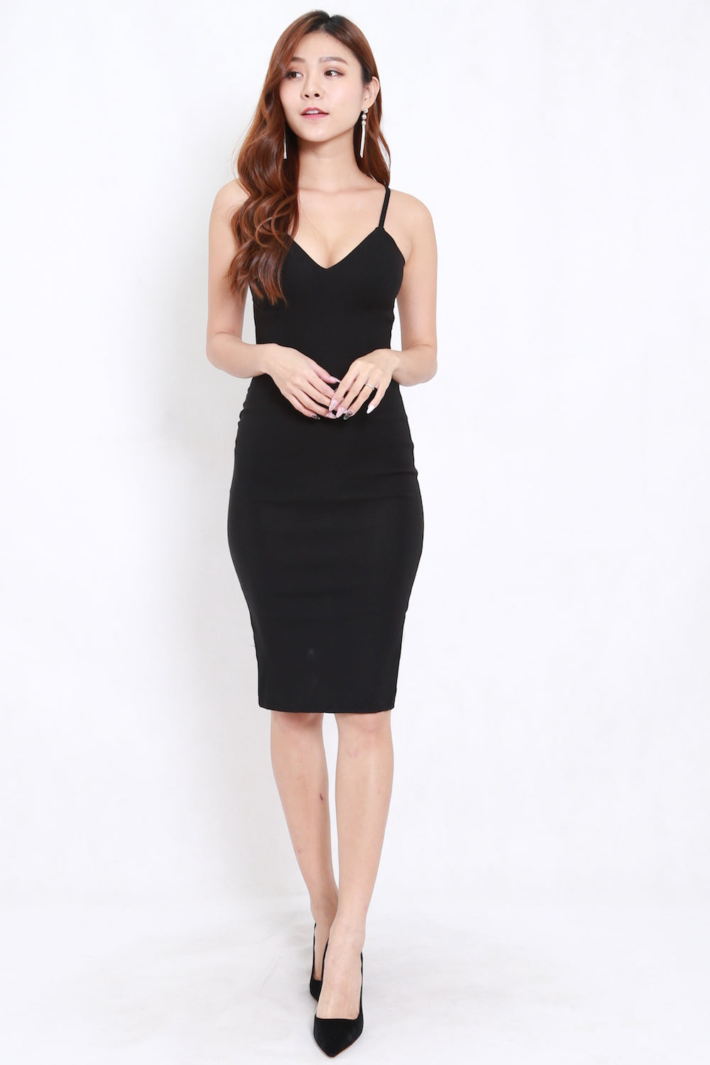 V Neck Midi Spag Dress (Black)