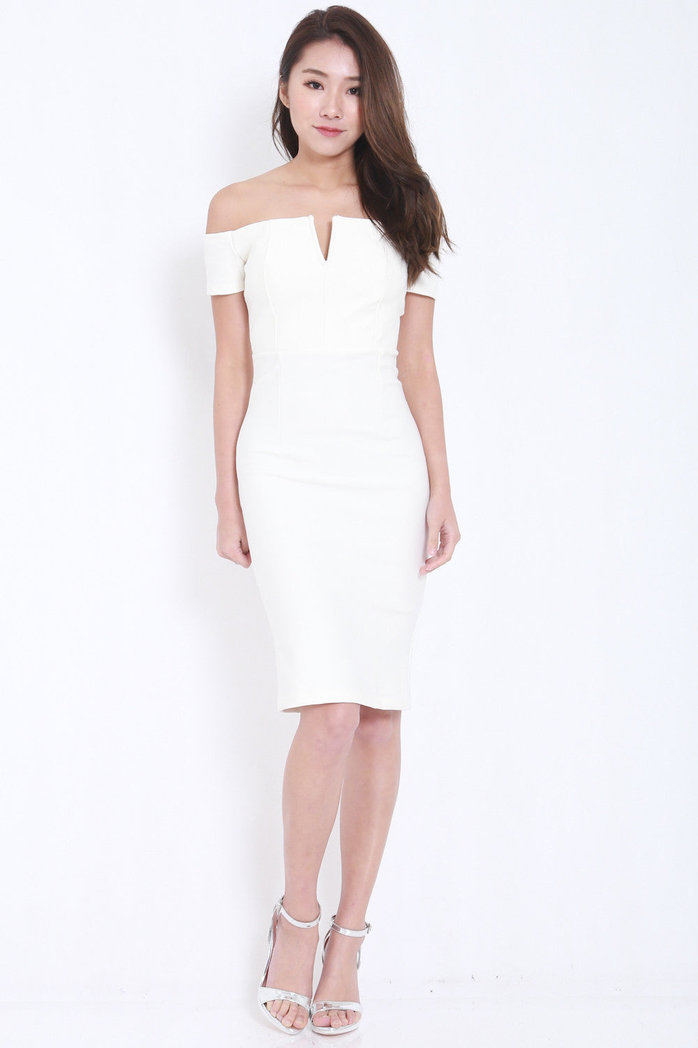 *PREMIUM* V Off Shoulder Midi Dress (White) -  - 2