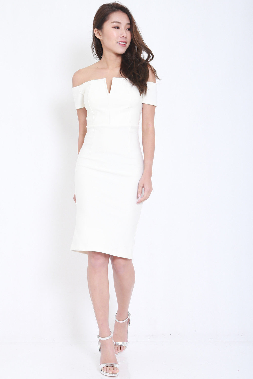 *PREMIUM* V Off Shoulder Midi Dress (White) -  - 3