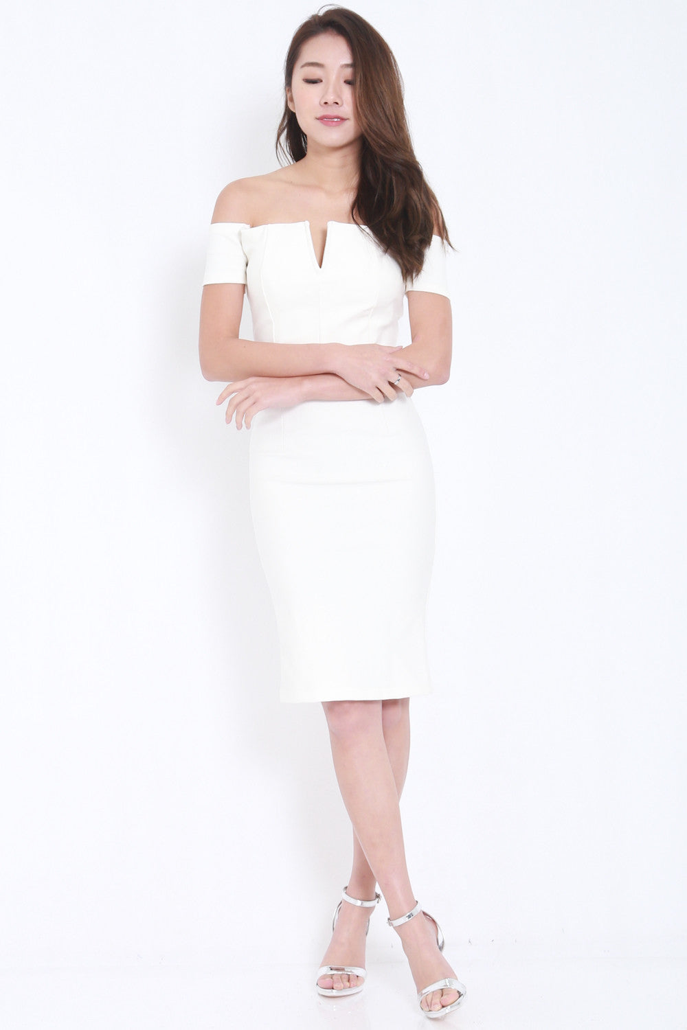 *PREMIUM* V Off Shoulder Midi Dress (White) -  - 1