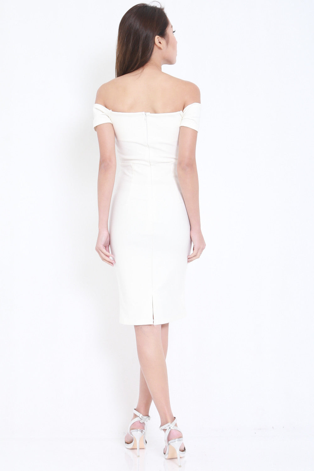 *PREMIUM* V Off Shoulder Midi Dress (White) -  - 5