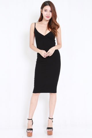V Overlap Midi Spag Dress (Black)