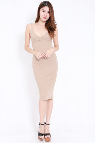 V Overlap Midi Spag Dress (Nude)