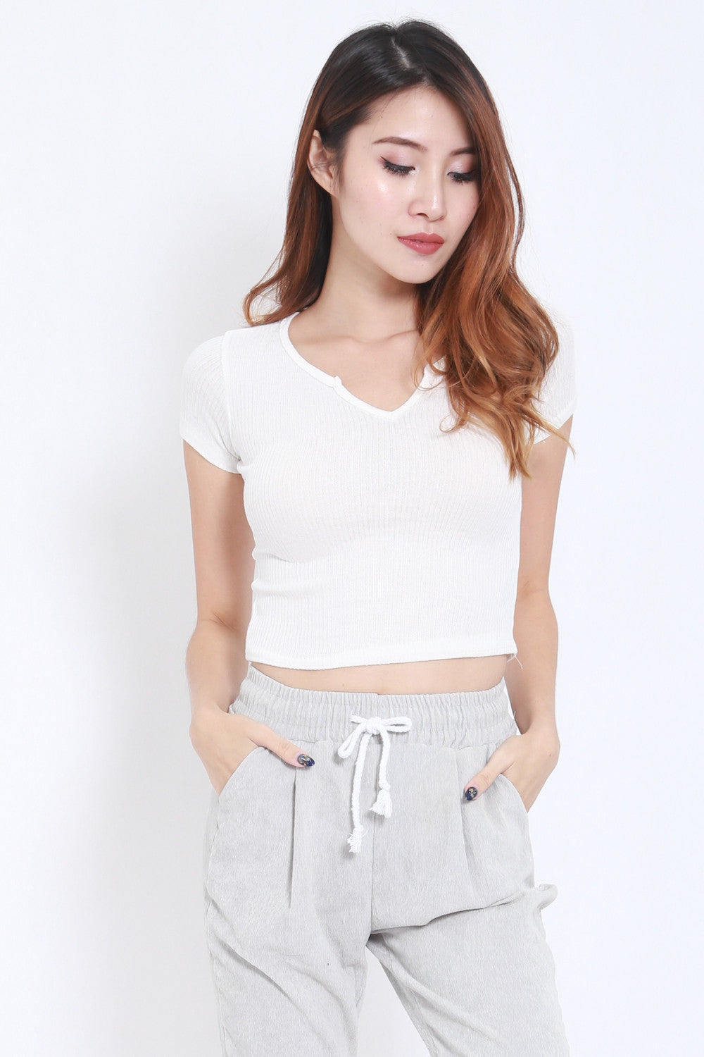 V Ribbed Tee (White) -  - 1