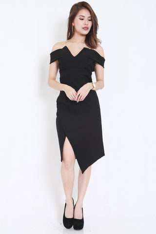 *PREMIUM* V Slit Midi Dress (Black) -  - 1