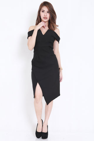 *PREMIUM* V Slit Midi Dress (Black) -  - 2