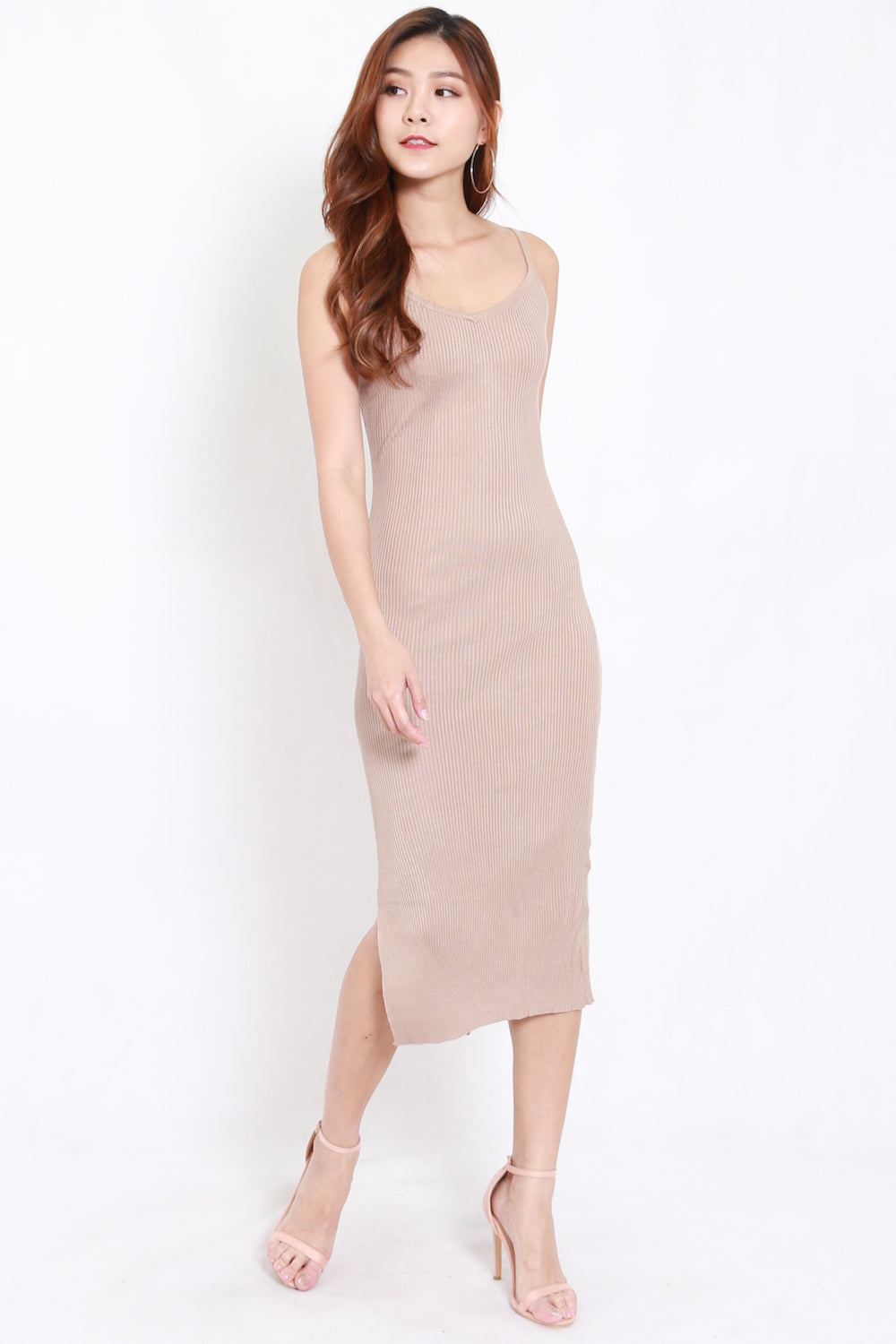 V Slit Midi Dress (Nude)