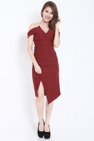 *PREMIUM* V Slit Midi Dress (Wine) -  - 1