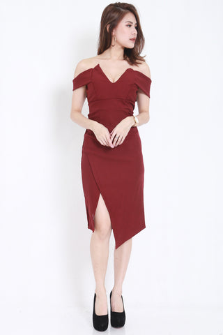 *PREMIUM* V Slit Midi Dress (Wine) -  - 2
