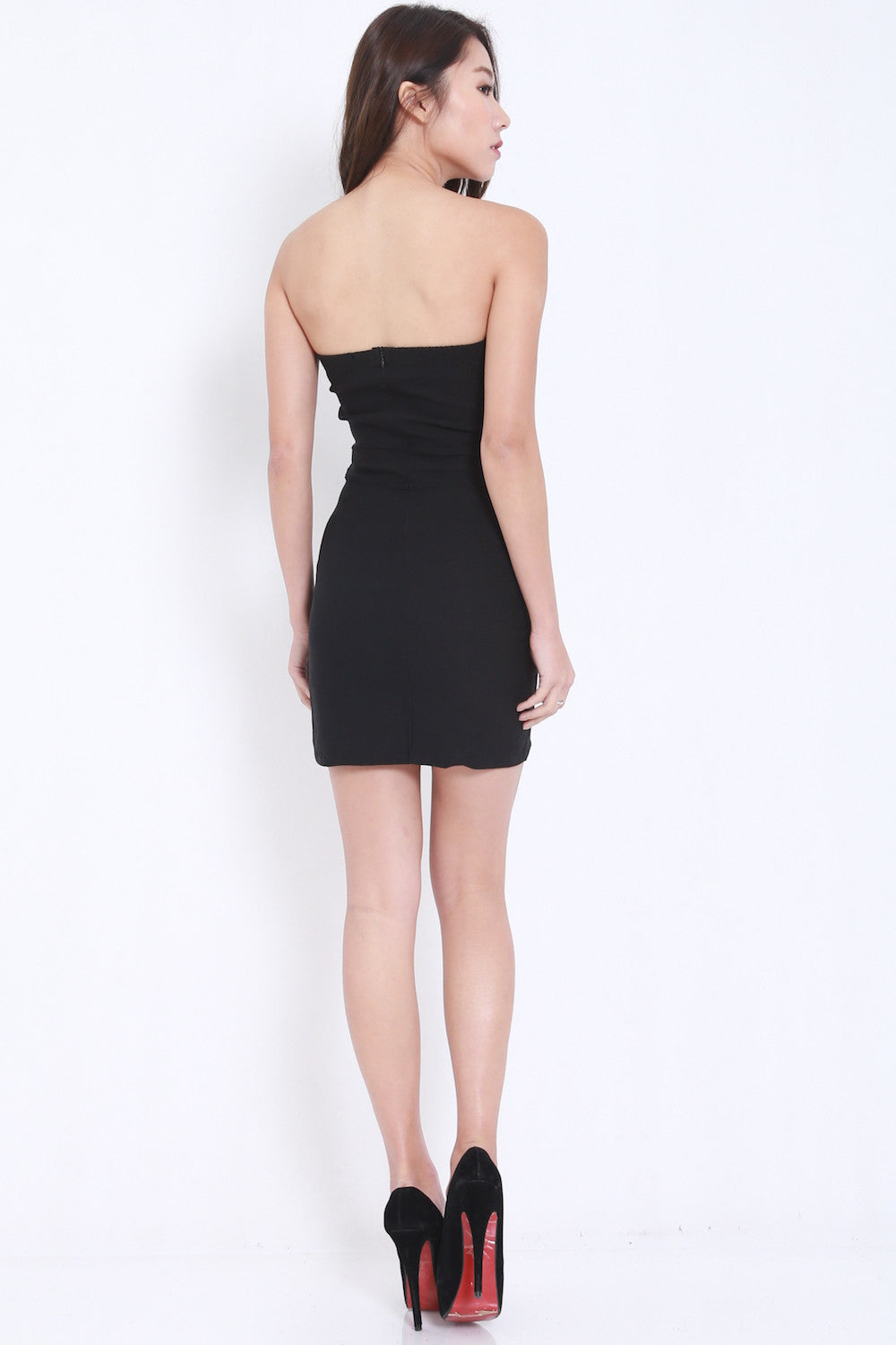 V Slit Tube Dress (Black) -  - 5