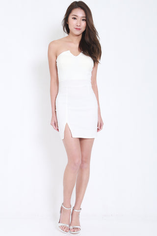 V Slit Tube Dress (White) -  - 1