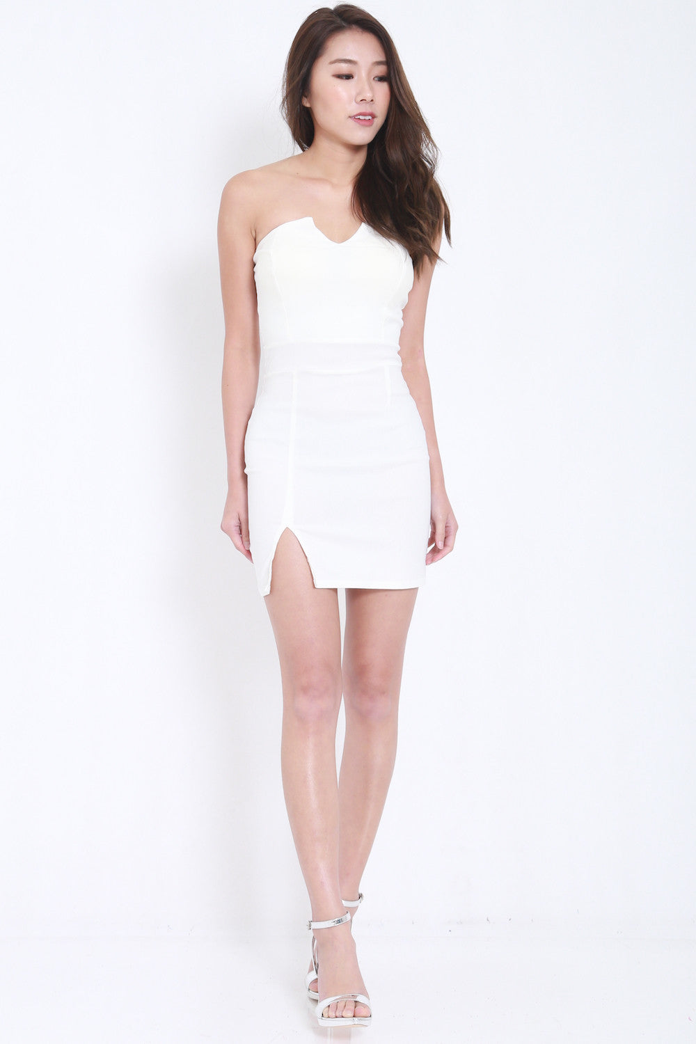 V Slit Tube Dress (White) -  - 2
