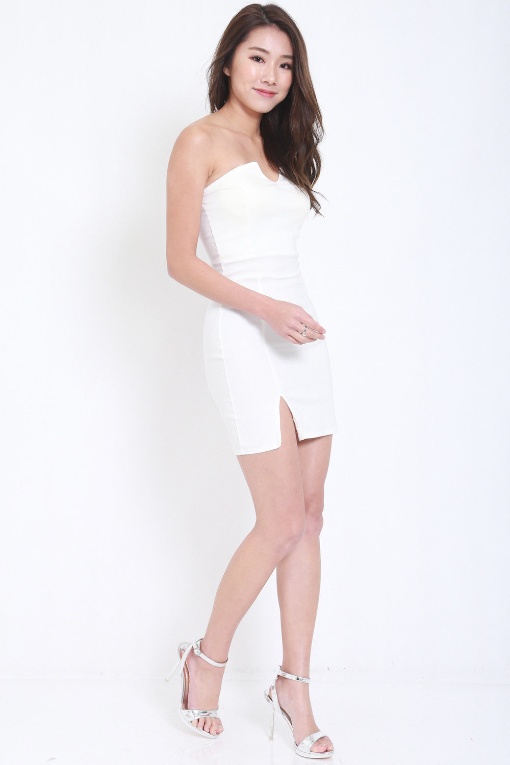 V Slit Tube Dress (White) -  - 3