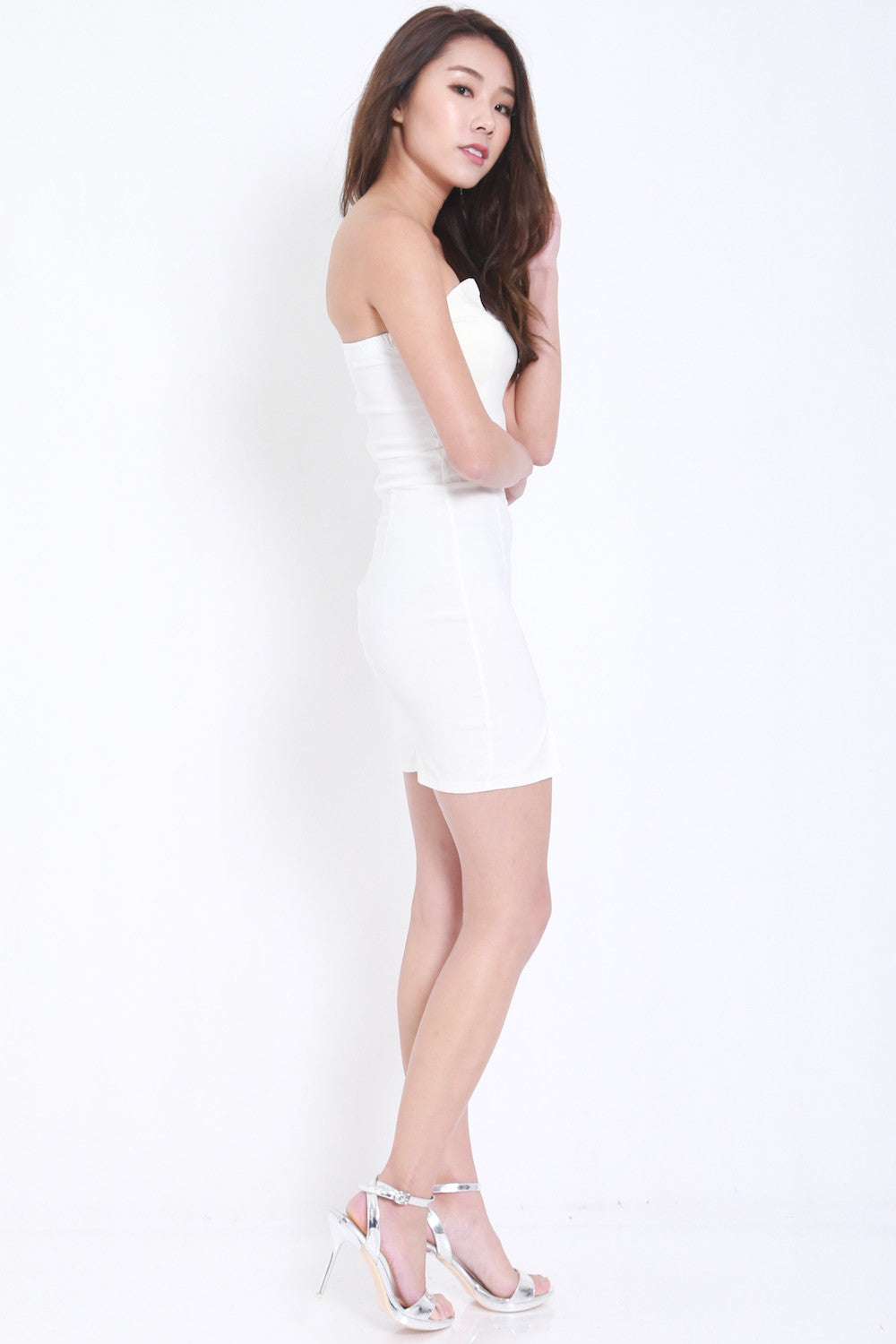 V Slit Tube Dress (White) -  - 4