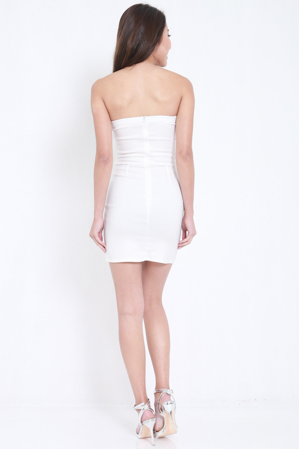 V Slit Tube Dress (White) -  - 5