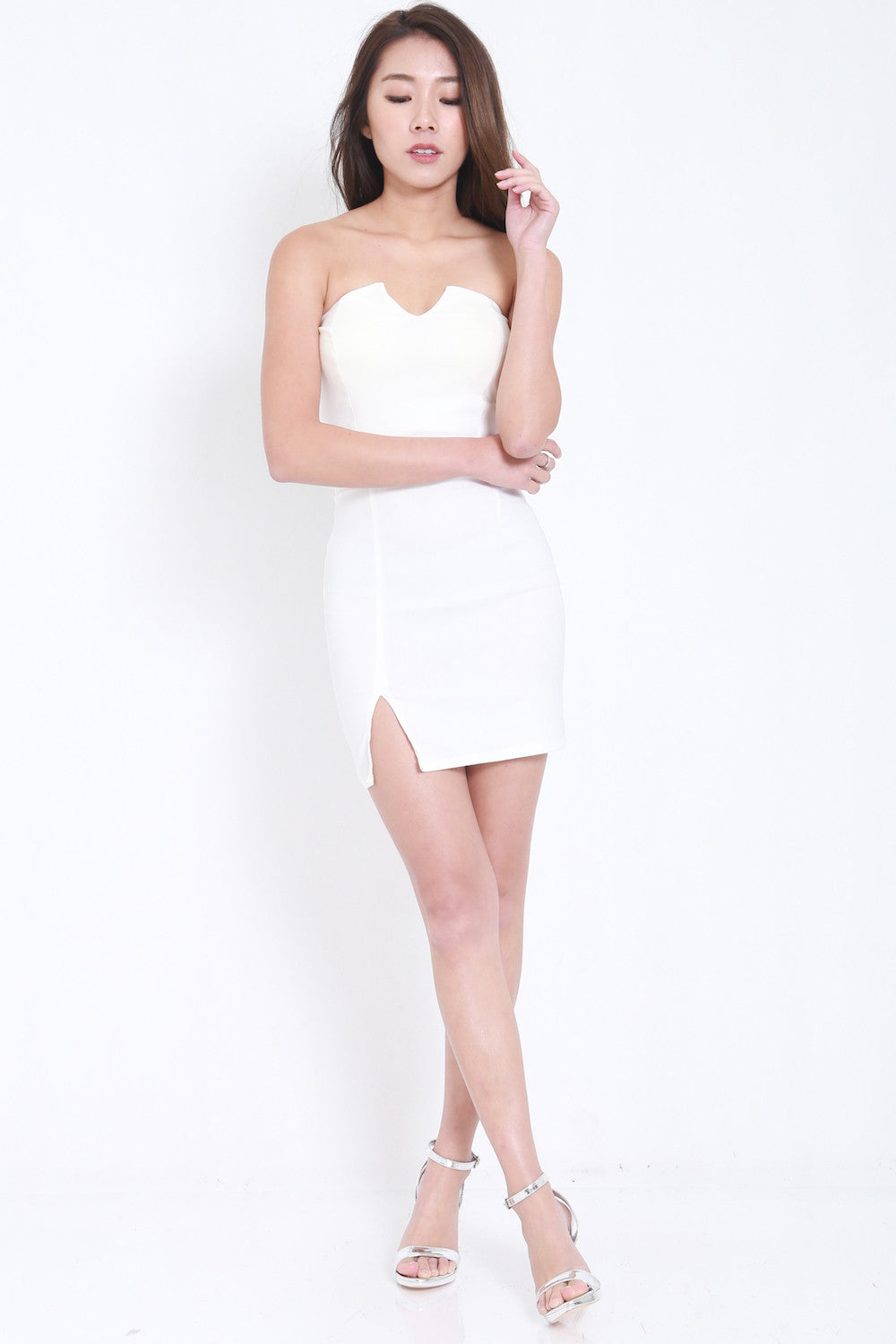 V Slit Tube Dress (White) -  - 7