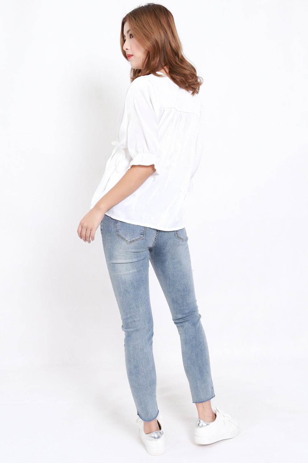 Velvet Buttons Shirt (White)