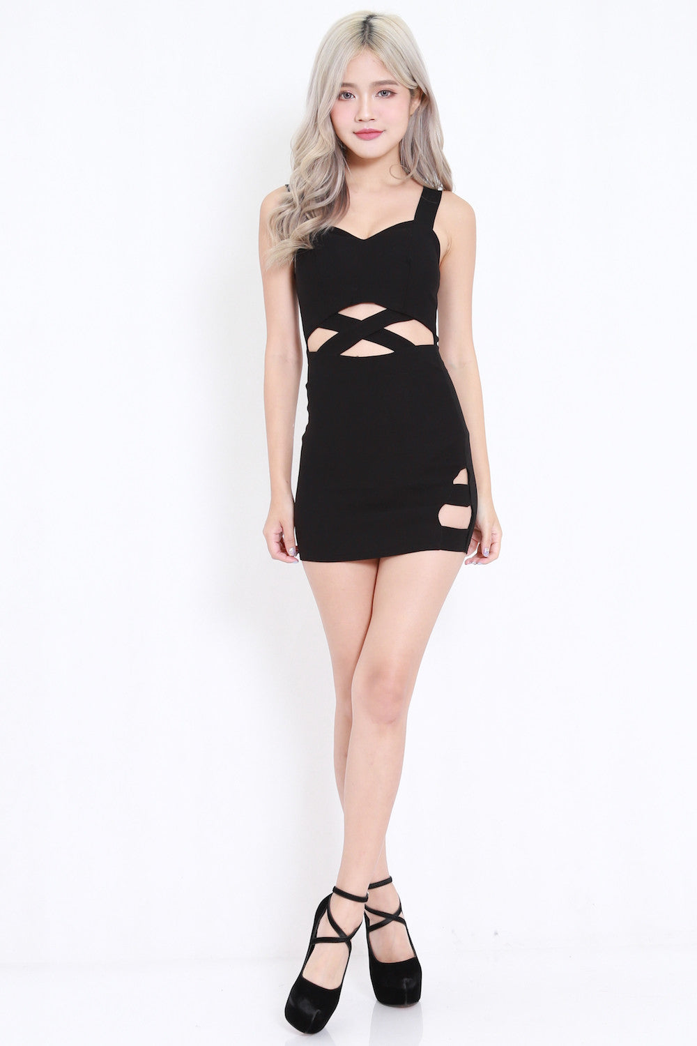 Waist Cutout Dress (Black)