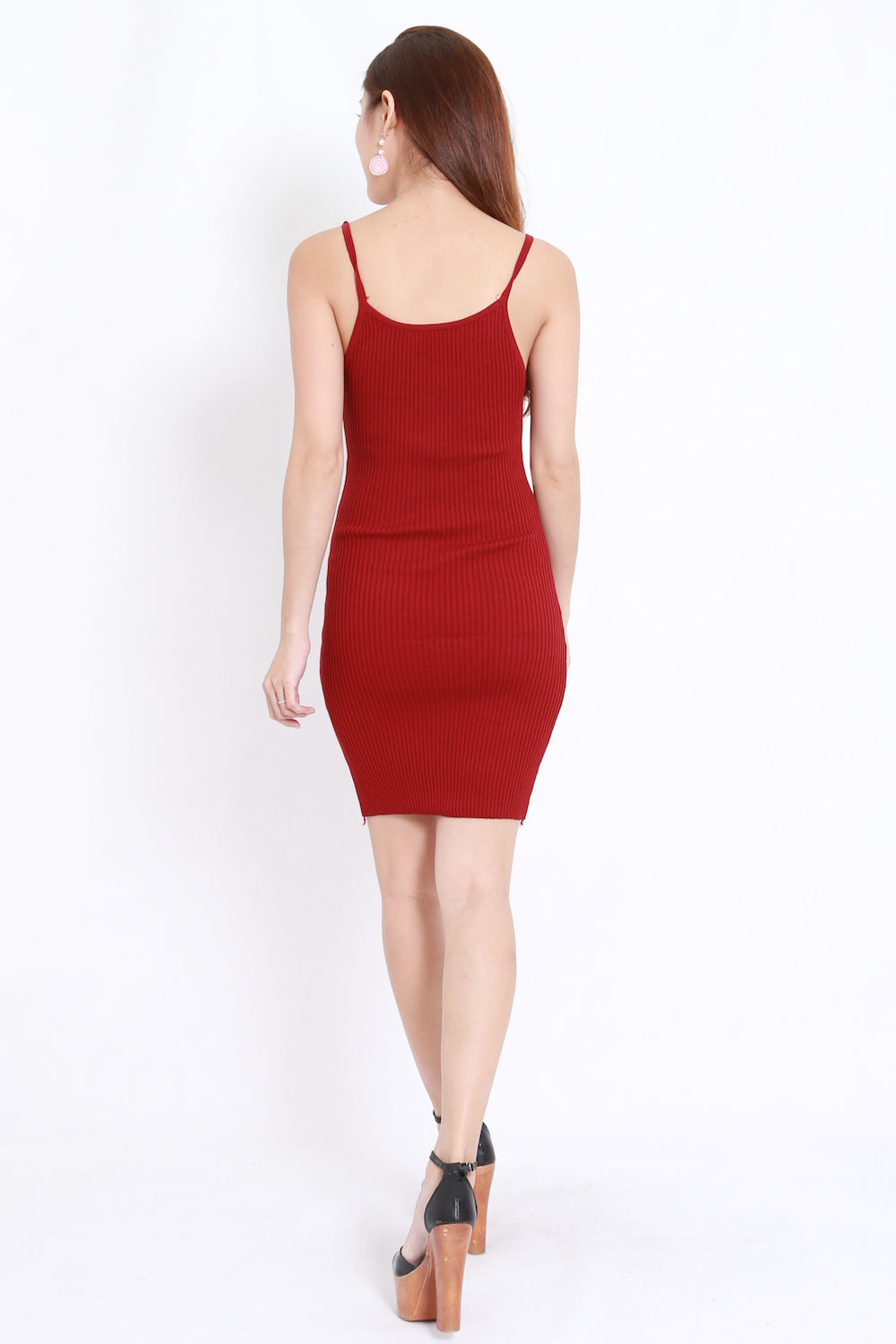 Waist Lines Knit Dress (Maroon)